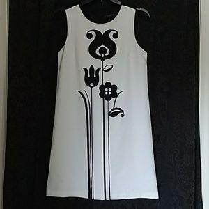 Victoria Beckham black white tulip shift dress XL